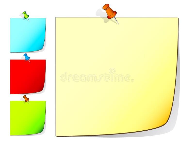 Empurre notas do pino ilustração do vetor