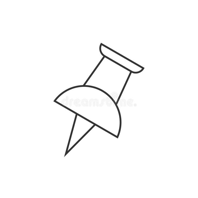Empurre o ícone do esboço do pino ilustração stock