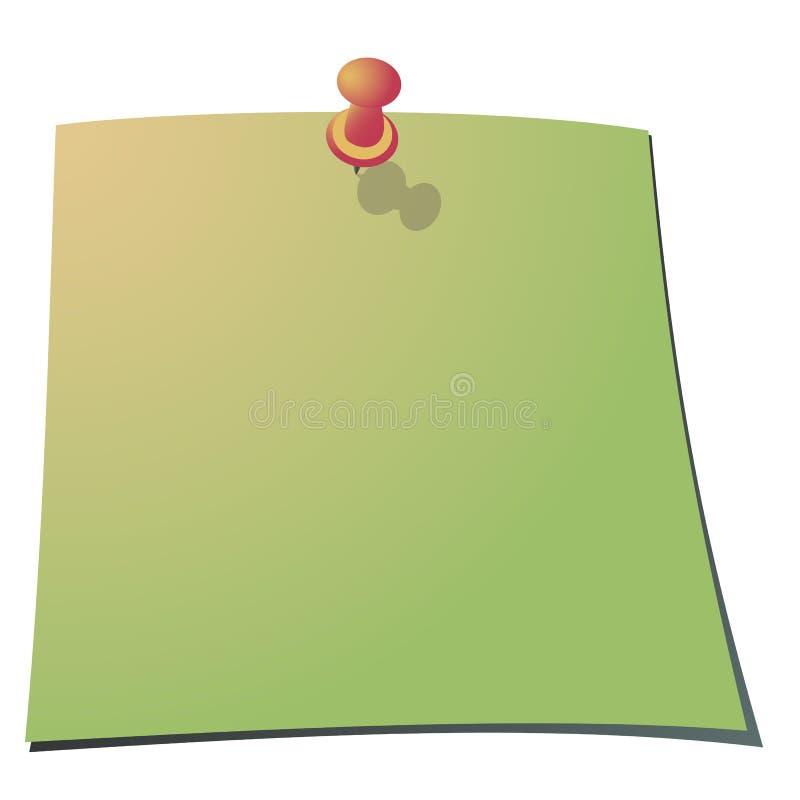 Empurre o pino e uma nota de papel ilustração royalty free