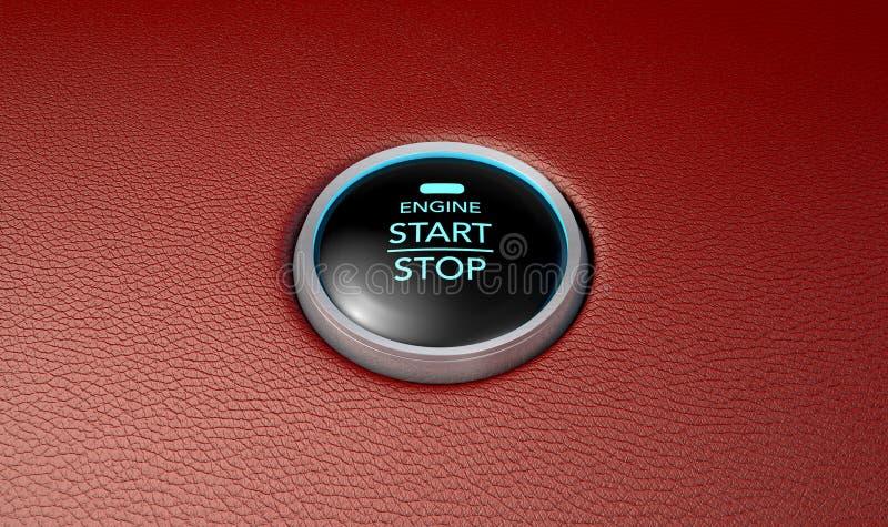 Empurre para ligar o botão de couro vermelho ilustração do vetor