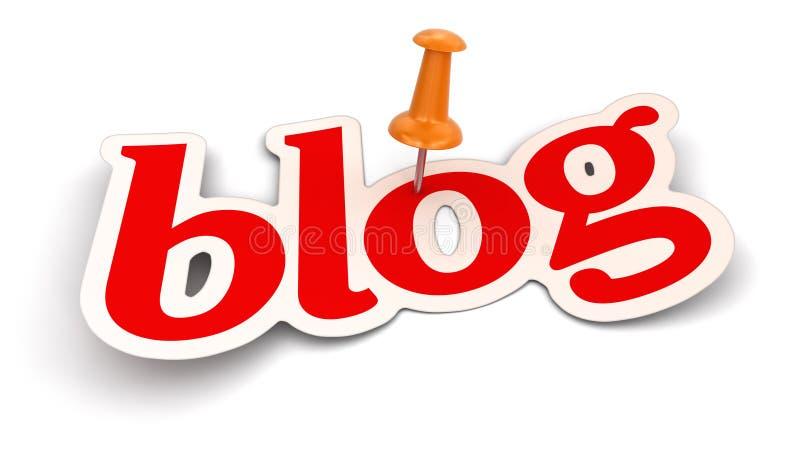 Empurre Pin e blogue (o trajeto de grampeamento incluído) ilustração royalty free