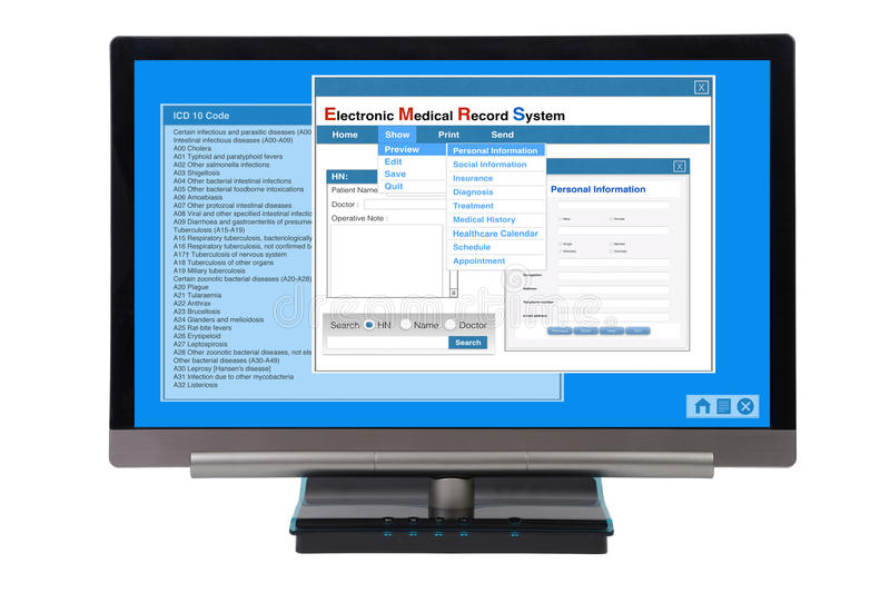 EMR on computer. Electronic medical record show on computer monitor on white background vector illustration