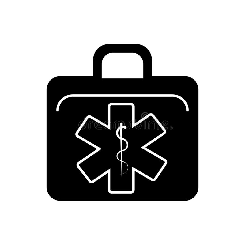 Black solid icon for EMS, ambulance and first. Black solid icon for EMS, paramedic, emt, em, training, responders,  ambulance and first stock illustration