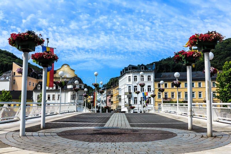 Ems mau, a cidade dos termas nos bancos do rio Lahn, Alemanha fotografia de stock royalty free