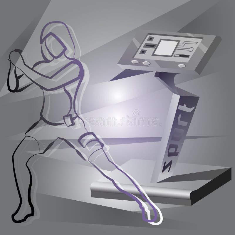 EMS sprawności fizycznej kobieta i przyrząd ilustracja wektor