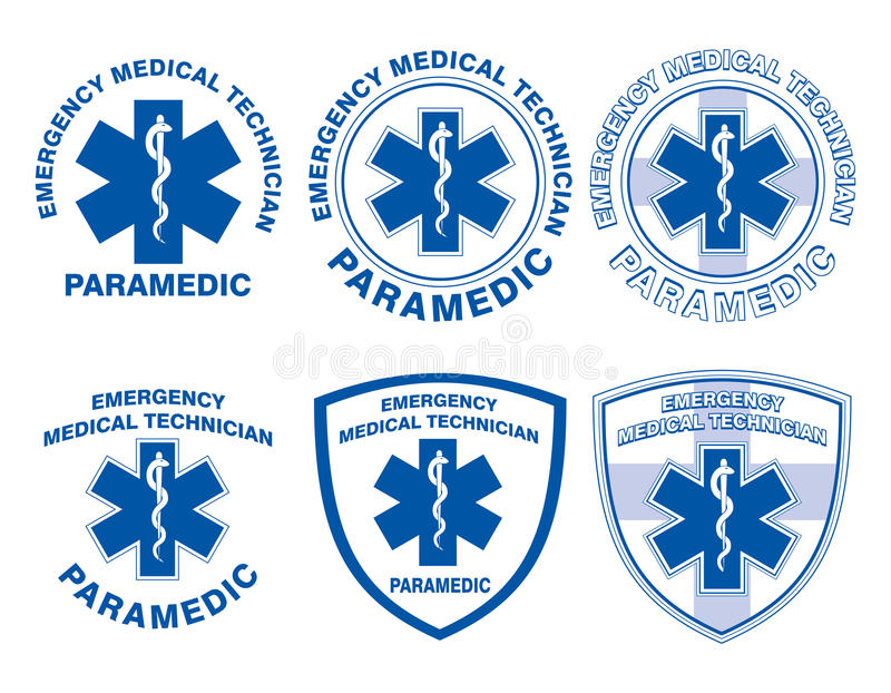 EMT Paramedic Medical Designs. Illustration of six EMT or paramedic designs with star of life medical symbols royalty free illustration