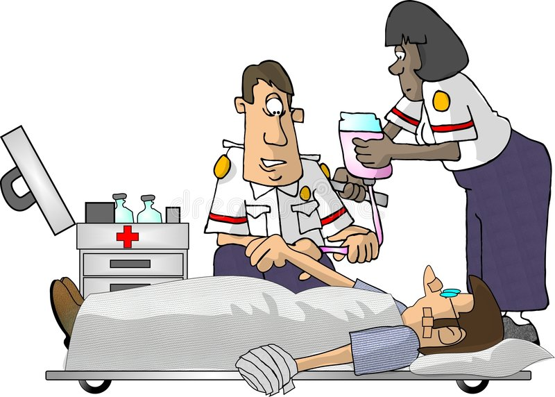 EMT Paramedics. This illustration that I created depicts 2 EMT's working on a patient laying on a stretcher stock illustration