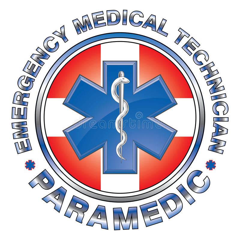EMT-person med paramedicinsk utbildning Medical Design Cross stock illustrationer