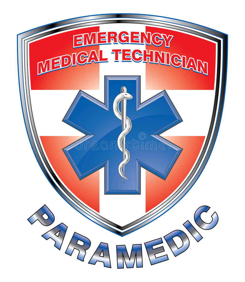 EMT-person med paramedicinsk utbildning Medical Design Shield royaltyfri illustrationer