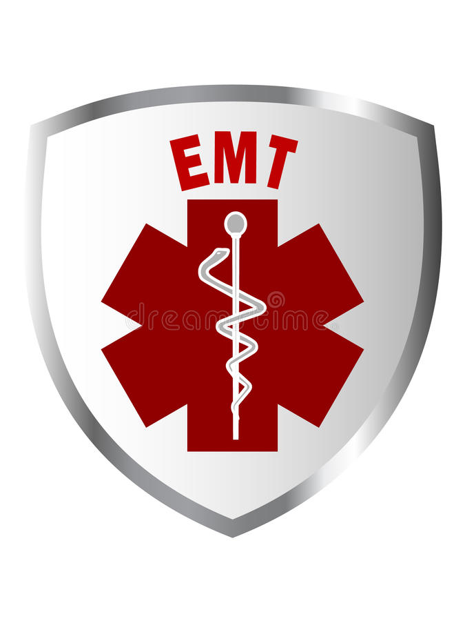 EMT shield sign. With caduceus vector illustration