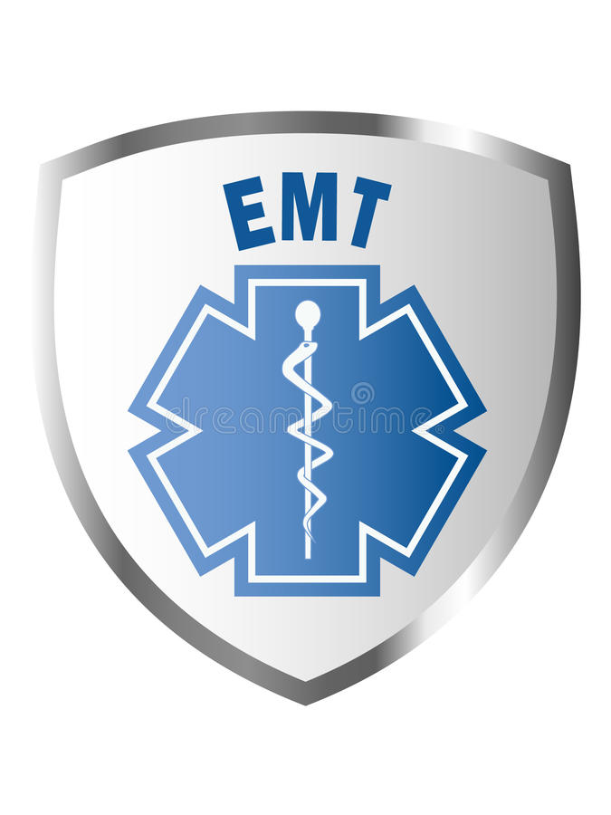 EMT sign on shield or patch. Emergency Medical Technician EMT sign on shield or patch vector illustration