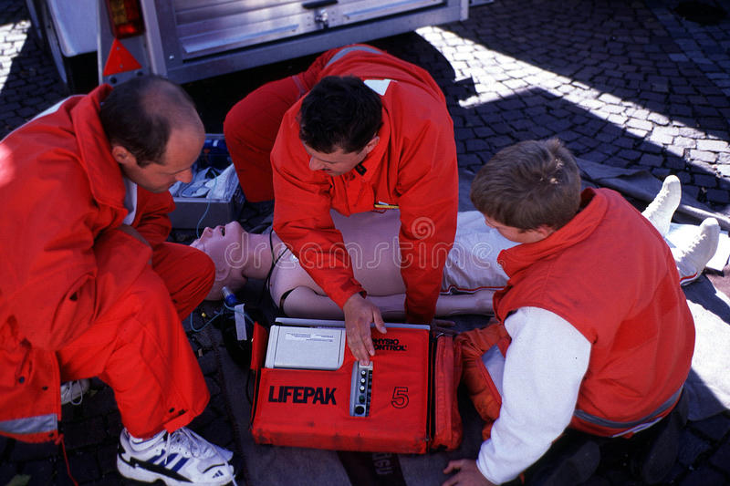 EMERGENCY TRAINING. EMT, Emergency medical technicians, training in Germany stock image