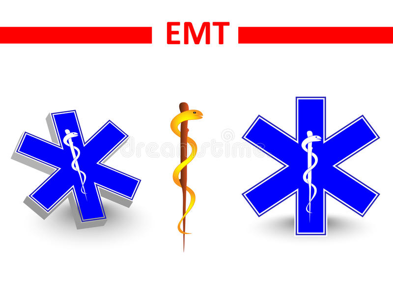 Emt. St Andrews cross and Eskulap. Emt. Vector medical symbol. medical star. St Andrews cross and Eskulap stock illustration