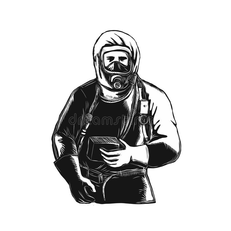 EMT Wearing Hazmat Suit Scratchboard. Scratchboard style illustration of an EMT,Emergency Medical Technician, firefighter, Paramedic, researcher, Worker Wearing vector illustration