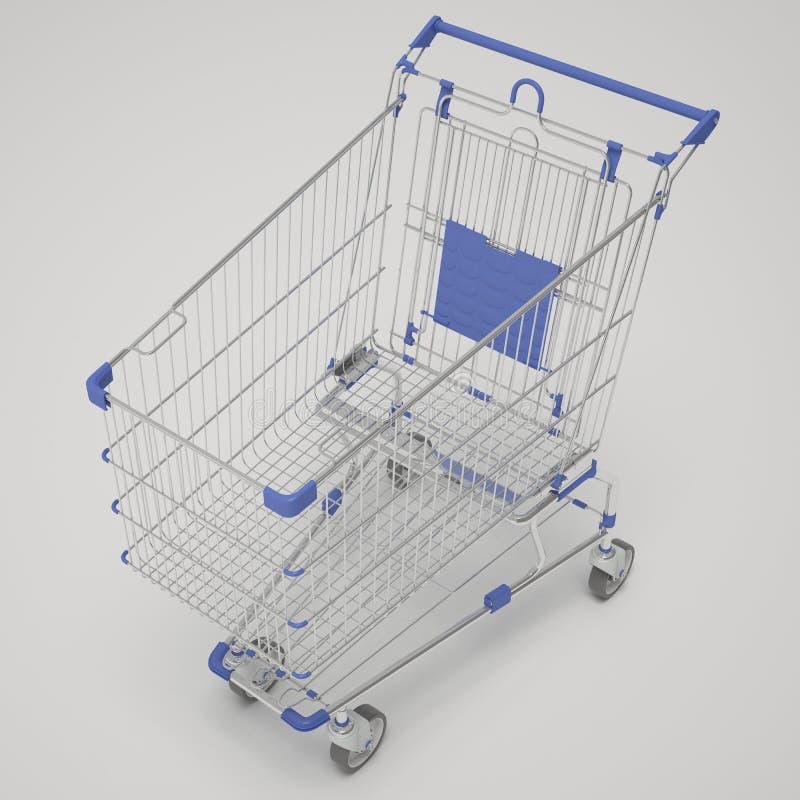 Emty boodschappenwagentje, ééndelig, blauw royalty-vrije stock foto's