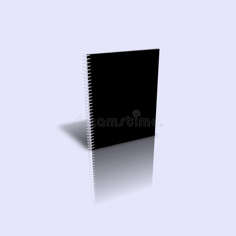 Emty schwarze gewundene Abbildung des Buches 3d stock abbildung