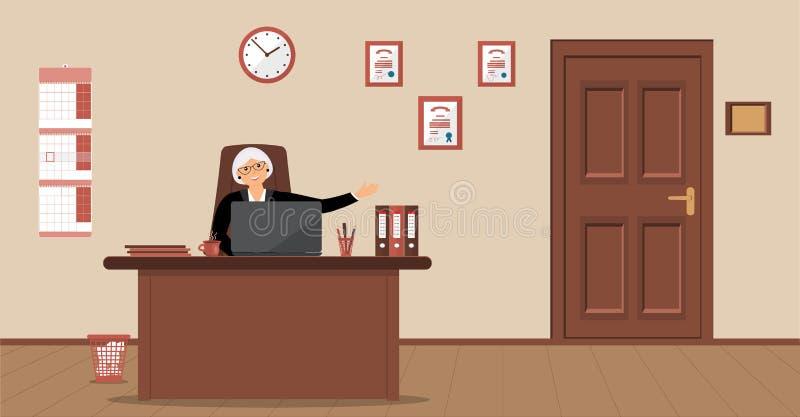 En äldre elegant sekreterarekvinna som sitter i arbetsplatsen i ett mottagandeområde på en kräm- bakgrund royaltyfri illustrationer