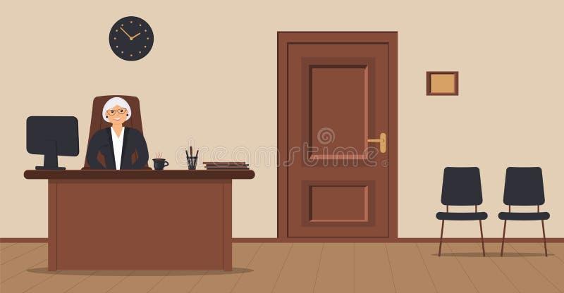 En äldre elegant sekreterarekvinna som sitter i arbetsplatsen i ett mottagandeområde på en kräm- bakgrund stock illustrationer