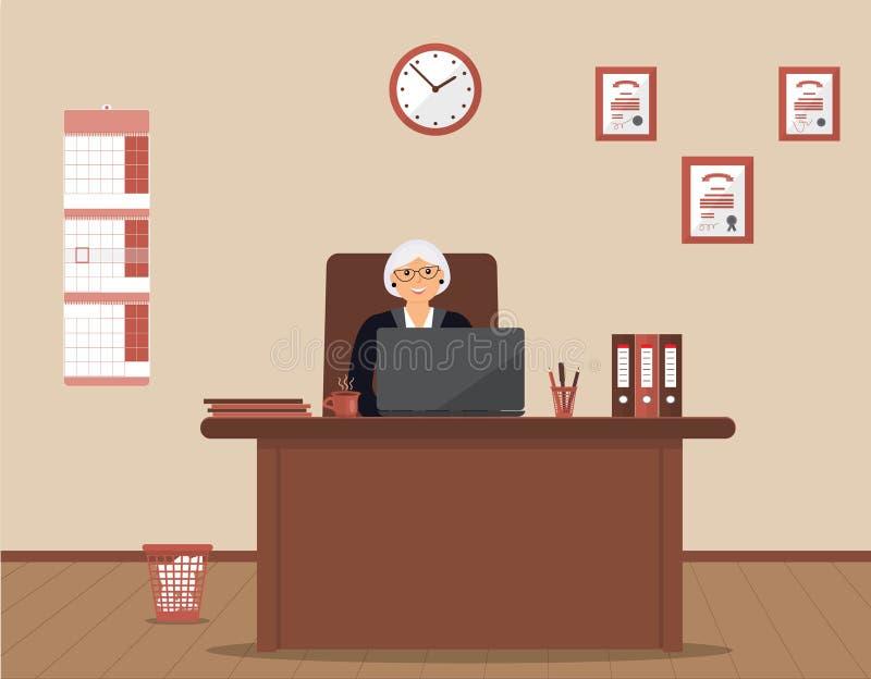 En äldre kvinna som sitter i arbetsplatsen i ett rymligt kontor på en kräm- bakgrund stock illustrationer