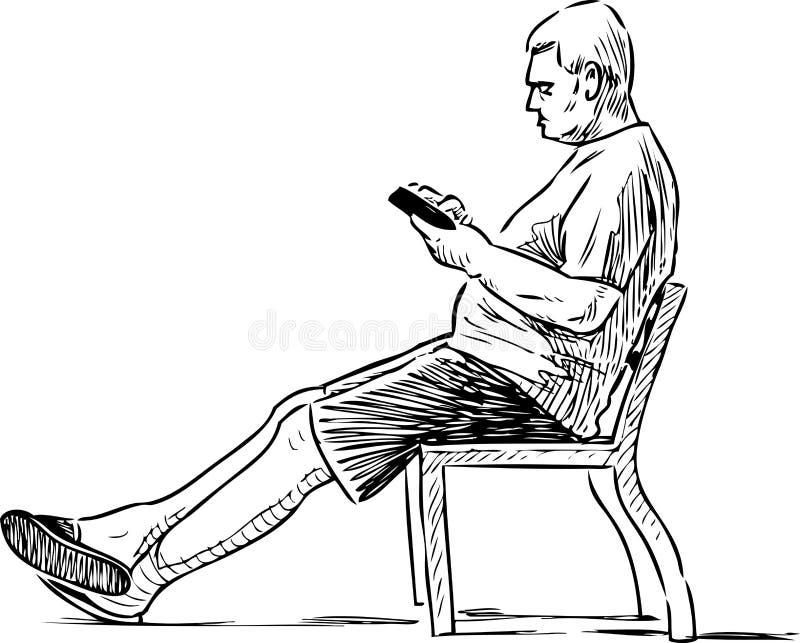 En äldre man läser en bok på en parkerabänk royaltyfri illustrationer