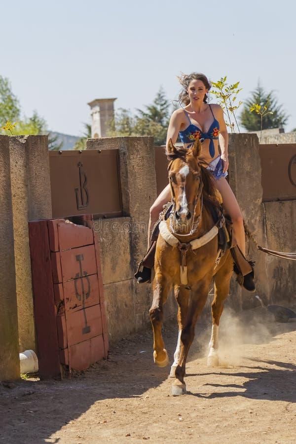 En älskvärd latinamerikansk brunettmodellPoses On A häst utomhus i en hem- miljö royaltyfri fotografi