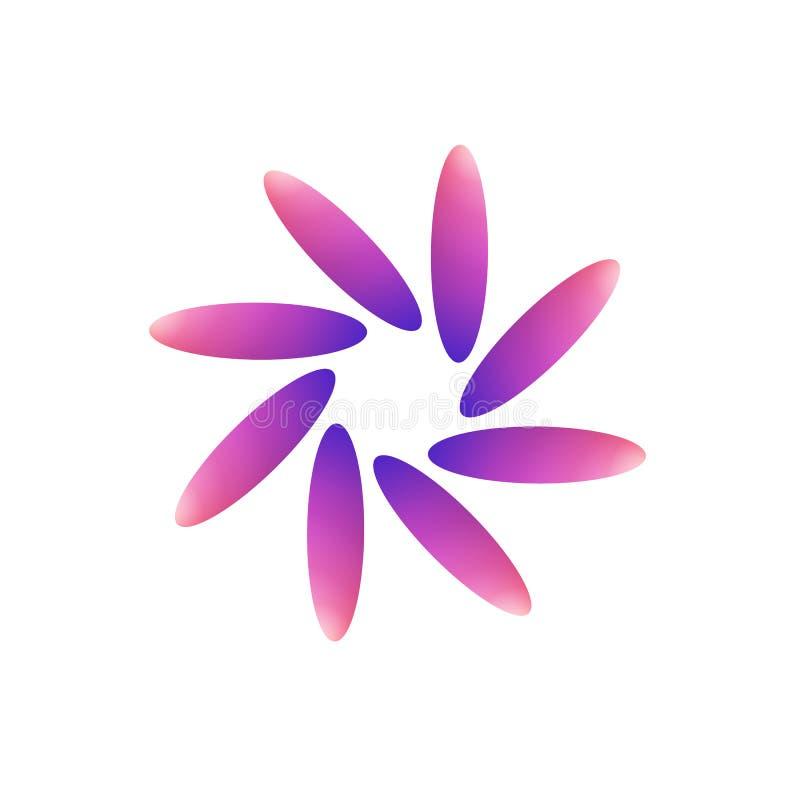 En ändrad rosa färg, purpurfärgad tulpanblommalogo stock illustrationer