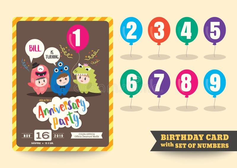 En årsårsdag lurar födelsedagberömmallen stock illustrationer