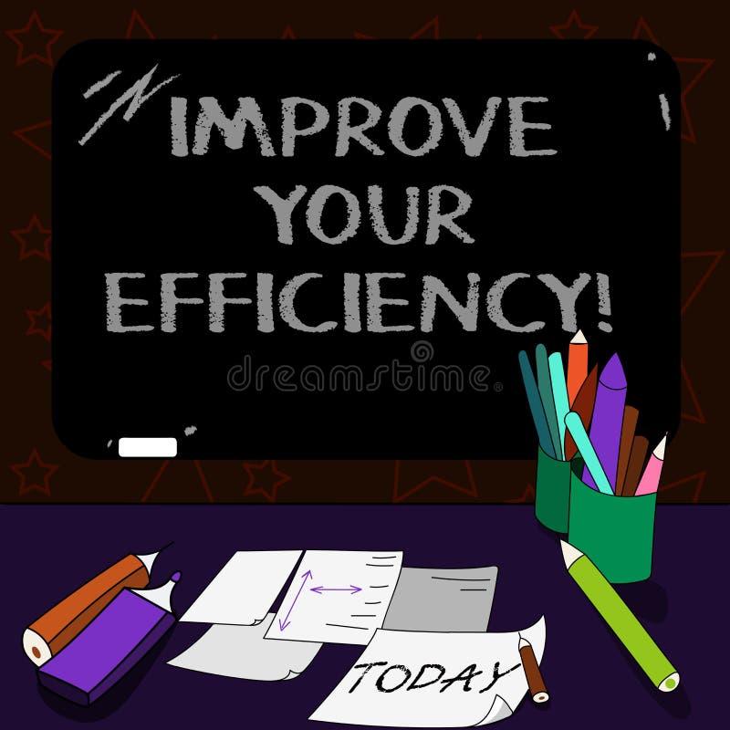 En écrivant l'apparence de note améliorez votre efficacité Productivité de présentation d'augmentation de photo d'affaires tout e illustration stock