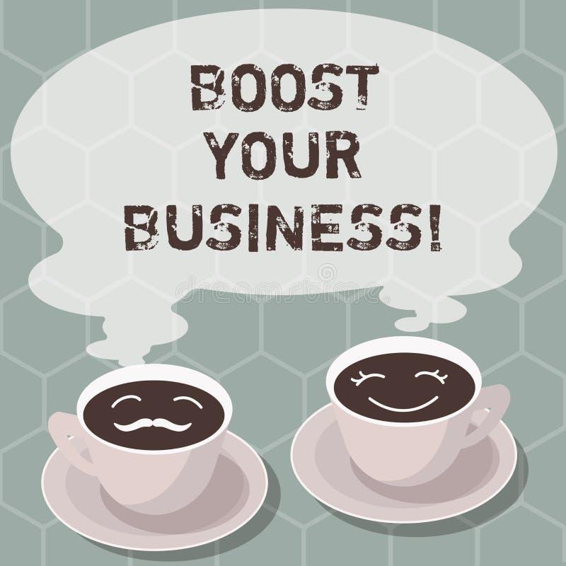 En écrivant l'apparence de note amplifiez vos affaires Photo d'affaires présentant améliorant une certaine mesure de croissance d illustration libre de droits
