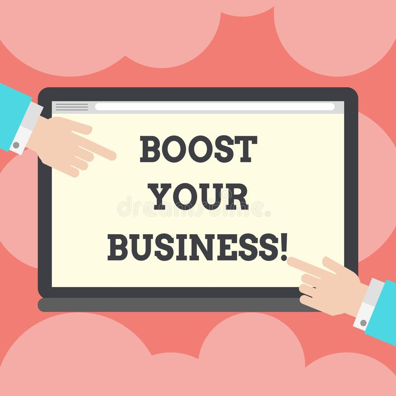 En écrivant l'apparence de note amplifiez vos affaires Photo d'affaires présentant améliorant une certaine mesure de croissance d illustration stock
