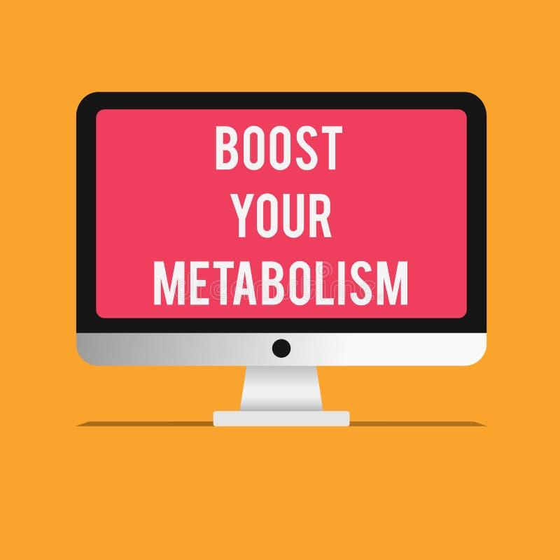 En écrivant l'apparence de note amplifiez votre métabolisme La présentation de photo d'affaires augmentent l'efficacité en graiss illustration de vecteur