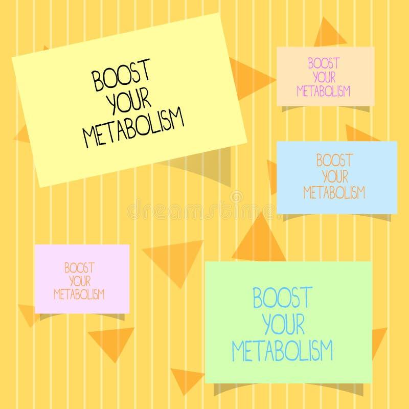 En écrivant l'apparence de note amplifiez votre métabolisme La présentation de photo d'affaires augmentent l'efficacité en graiss illustration stock