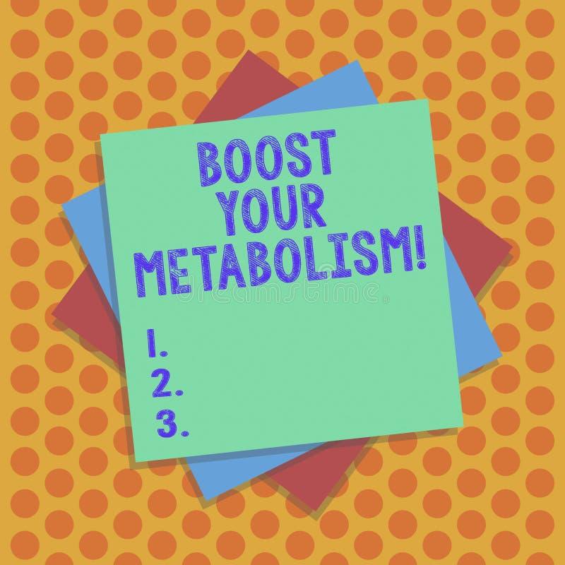 En écrivant l'apparence de note amplifiez votre métabolisme Photo d'affaires présentant accélérant la panne de la prise de calori illustration de vecteur