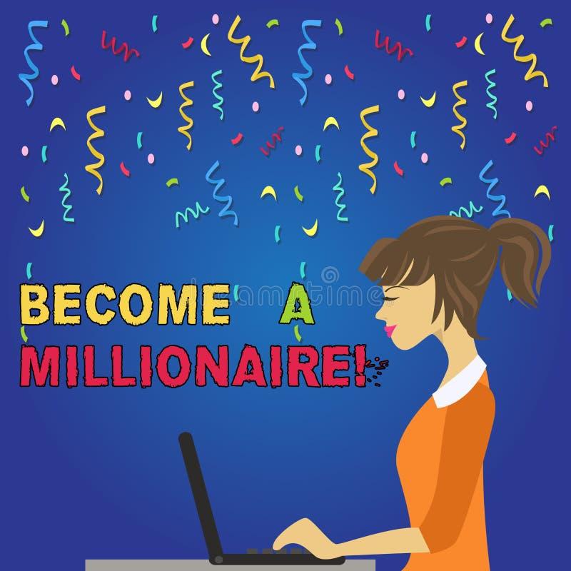 En écrivant l'apparence de note devenez un millionnaire Personne de présentation de photo d'affaires dont la richesse est égale o illustration stock