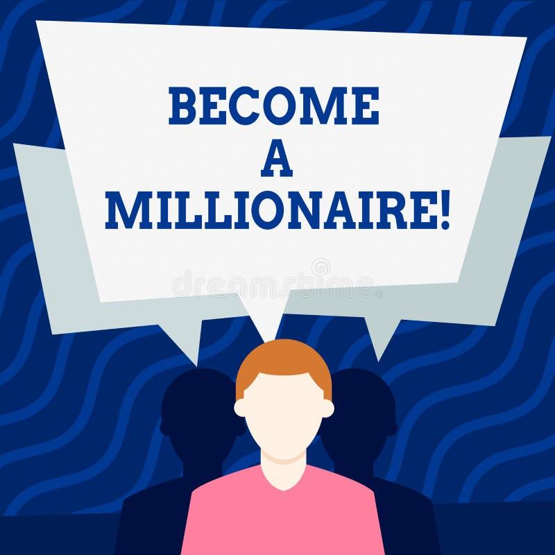 En écrivant l'apparence de note devenez un millionnaire Personne de présentation de photo d'affaires dont la richesse est égale o illustration de vecteur