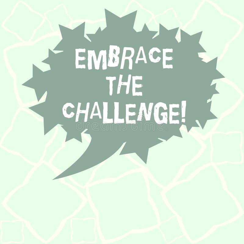En écrivant l'apparence de note embrassez le défi Visage de présentation de photo d'affaires tous procès qui vient avec la dignit illustration de vecteur