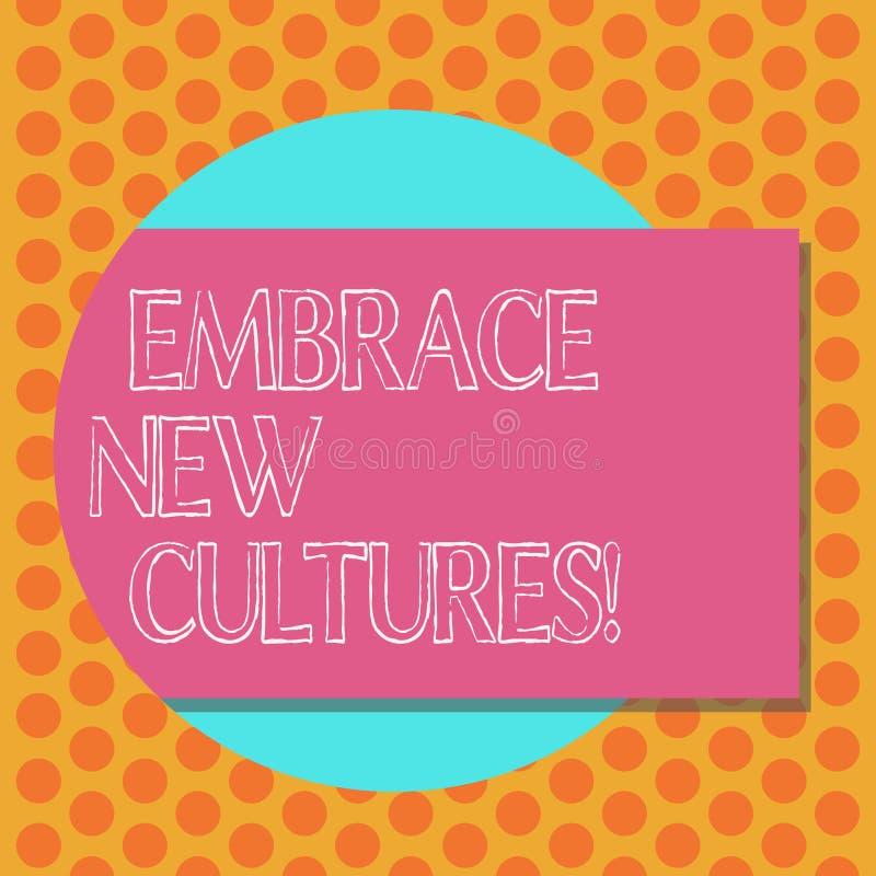 En écrivant l'apparence de note embrassez les nouvelles cultures Photo d'affaires présentant Become mis au courant des traditions illustration stock
