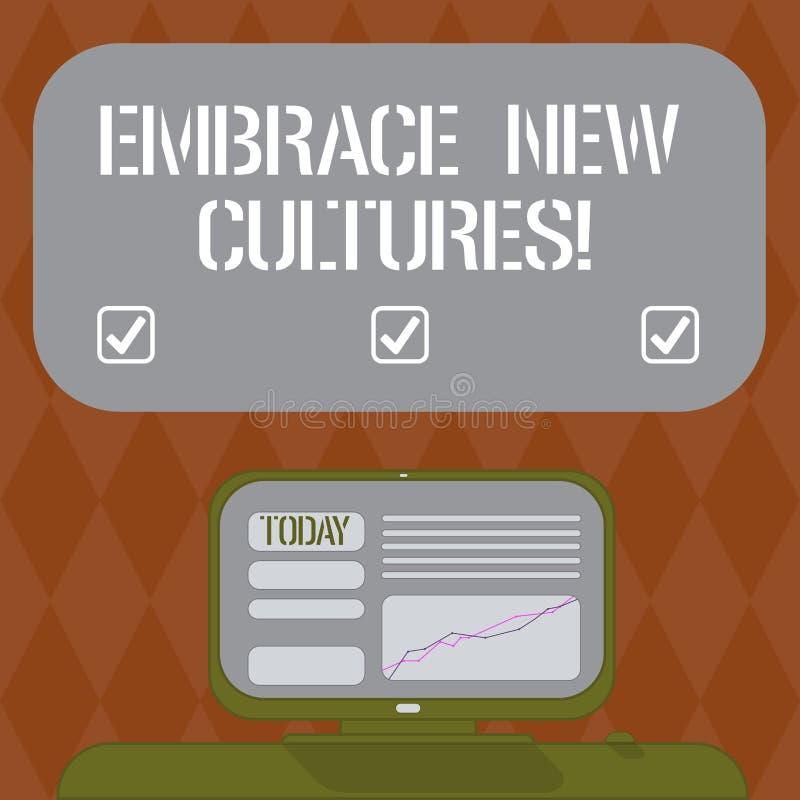 En écrivant l'apparence de note embrassez les nouvelles cultures Photo d'affaires présentant Become mis au courant des traditions illustration de vecteur
