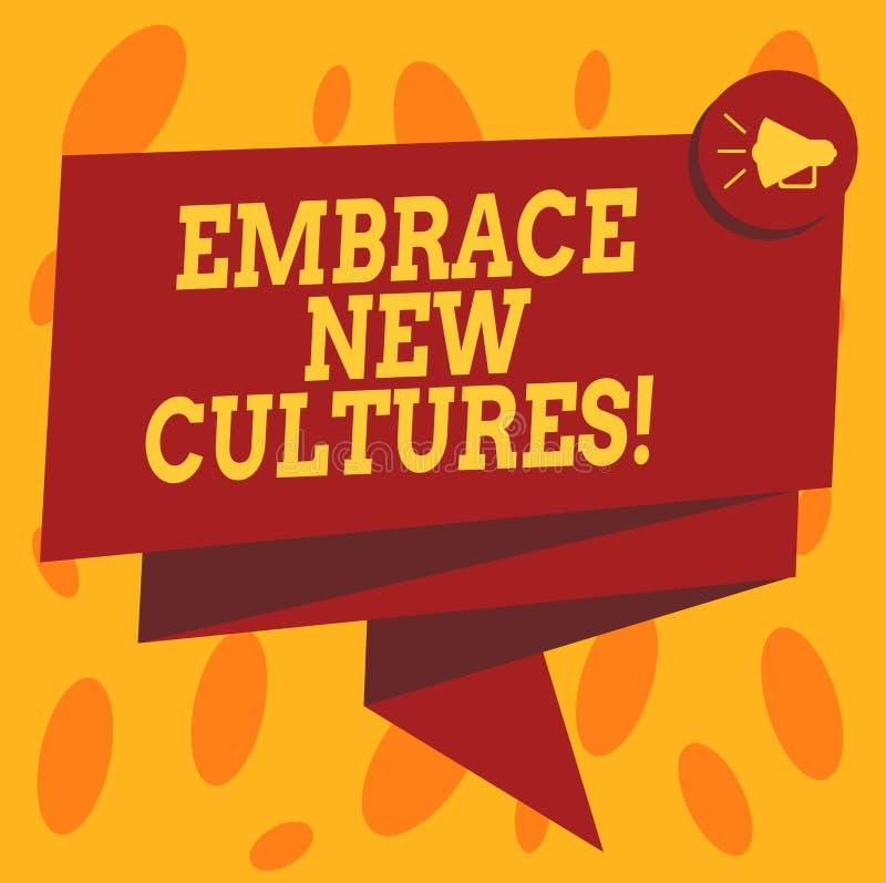 En écrivant l'apparence de note embrassez les nouvelles cultures Photo d'affaires présentant Become mis au courant des traditions illustration libre de droits