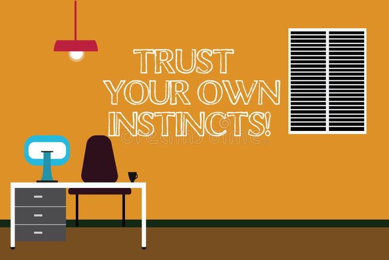 En écrivant l'apparence de note faites confiance à vos propres instincts La présentation de photo d'affaires intuitive suivent de illustration libre de droits