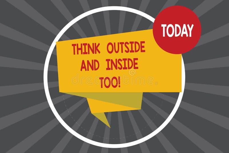 En écrivant l'apparence de note pensez extérieur et intérieur aussi La présentation de photo d'affaires voient le problème de dif illustration de vecteur