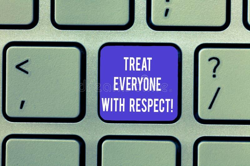 En écrivant l'apparence de note traitez chacun avec le respect La présentation de photo d'affaires soit respectueuse à d'autres o photo libre de droits