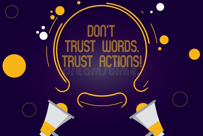 En écrivant l'apparence Don T de note faites confiance aux actions de confiance de mots Photo d'affaires présentant parler moins  illustration stock