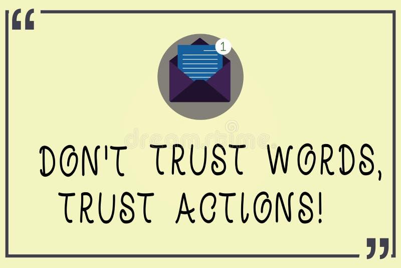 En écrivant l'apparence Don T de note faites confiance aux actions de confiance de mots Photo d'affaires présentant parler moins  illustration libre de droits