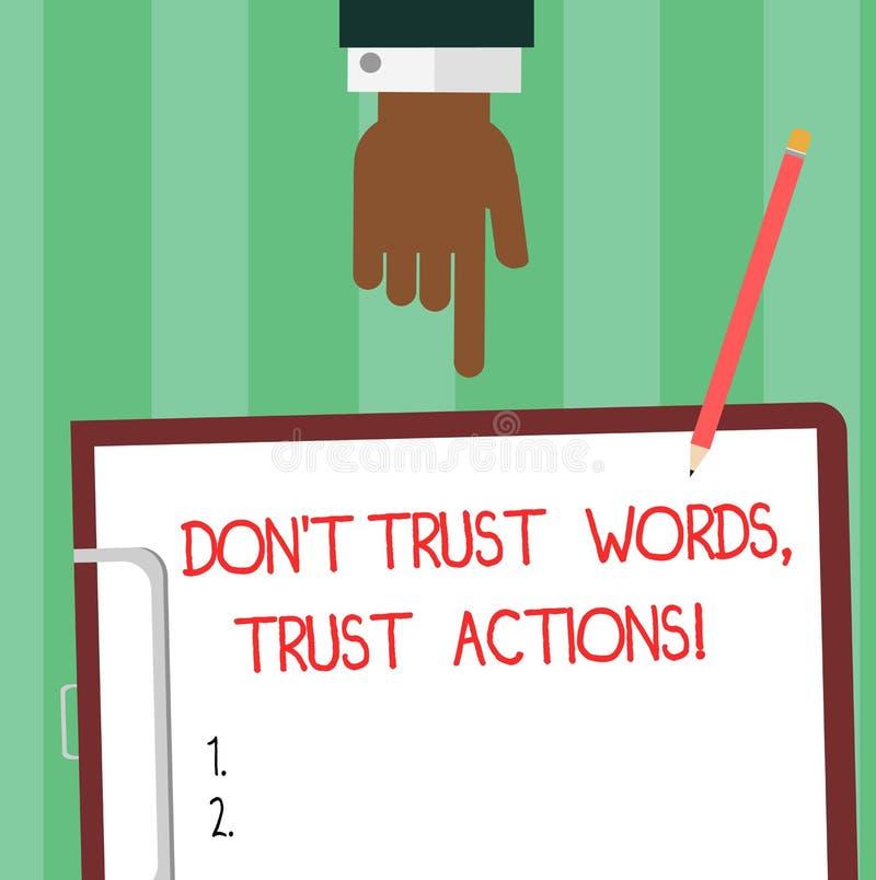 En écrivant l'apparence Don T de note faites confiance aux actions de confiance de mots Photo d'affaires présentant parler moins  illustration de vecteur