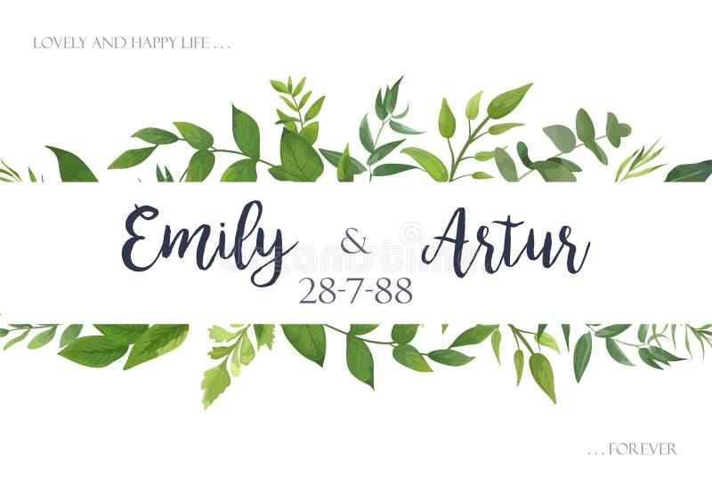 En épousant invitez, invitation, sauvent le design de carte de date avec le vert illustration libre de droits