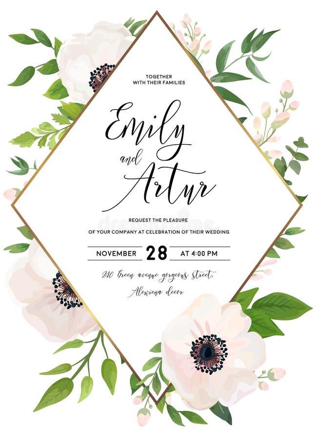 En épousant invitez, invitation, sauvent le design de carte de date : goupille blanche illustration de vecteur