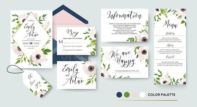 En épousant invitez, menu, rsvp, merci marquer des économies la carte de date D illustration stock