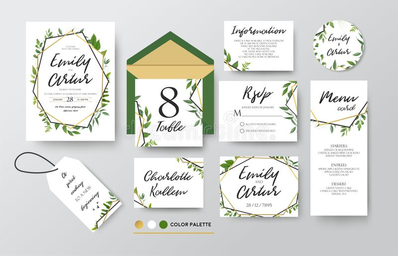 En épousant invitez, menu, rsvp, merci marquer des économies la carte de date D illustration de vecteur