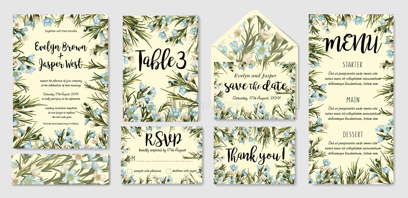 En épousant invitez, menu, rsvp, merci marquer des économies la carte de date e illustration libre de droits